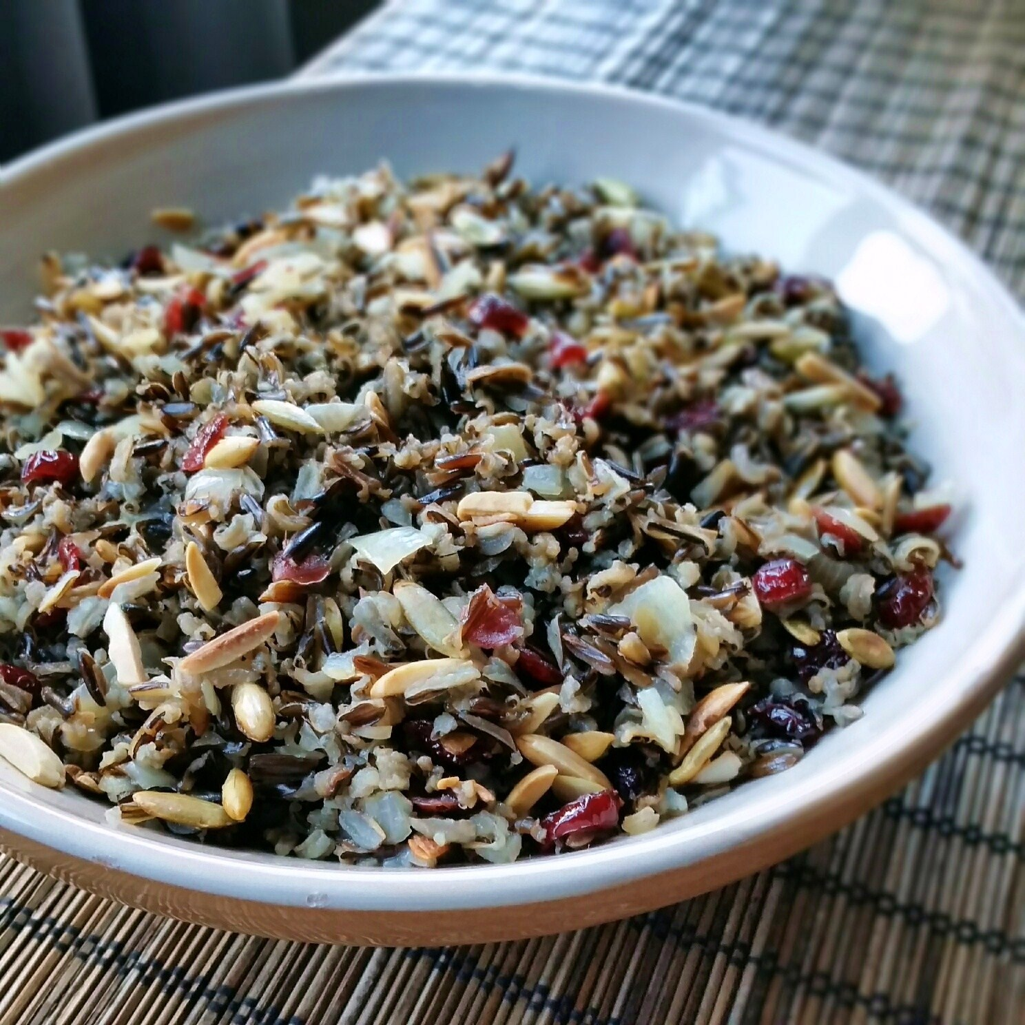 cranberry wild rice with toasted almonds and pumpkin seeds