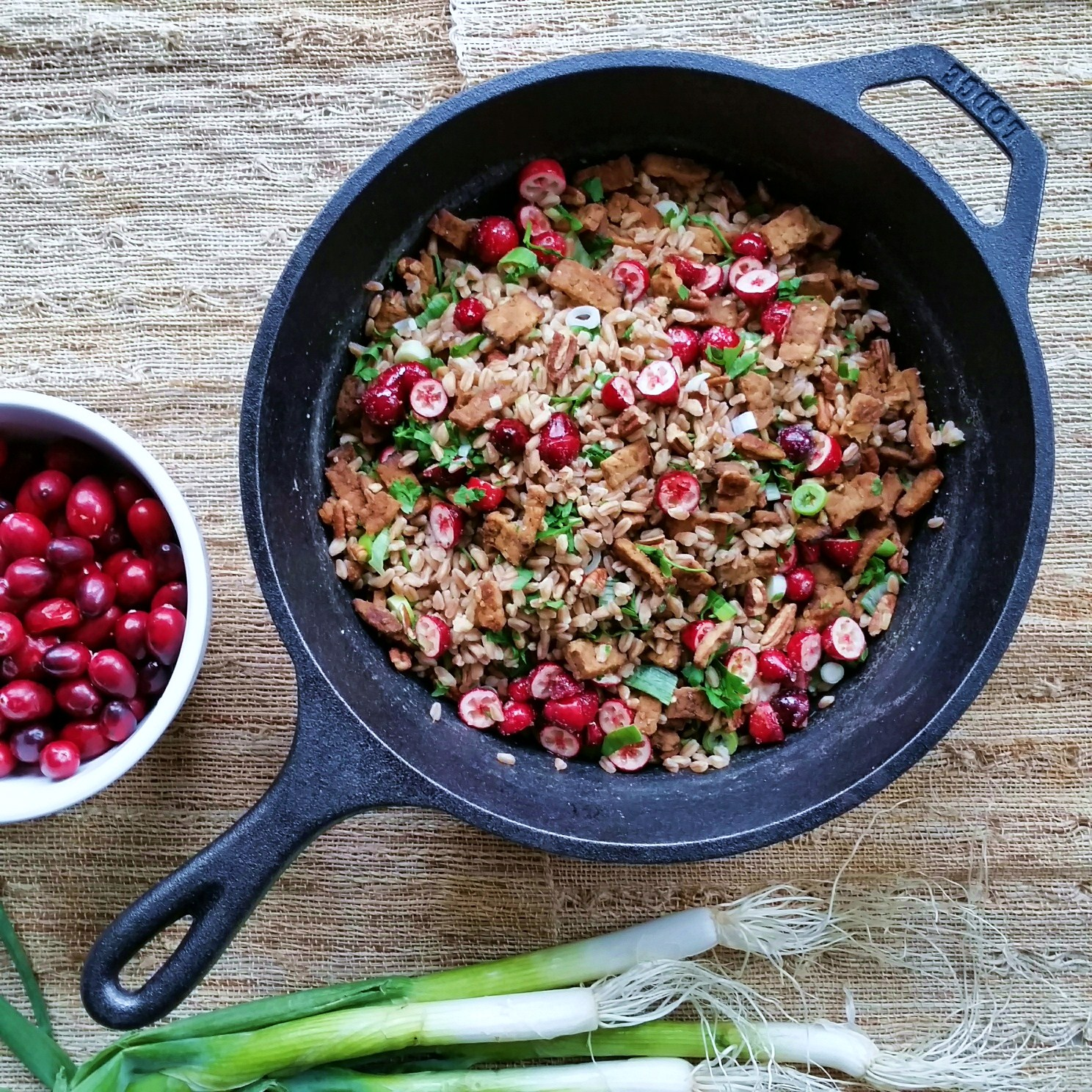 cranberry farro with smoky tempeh and toasted walnuts