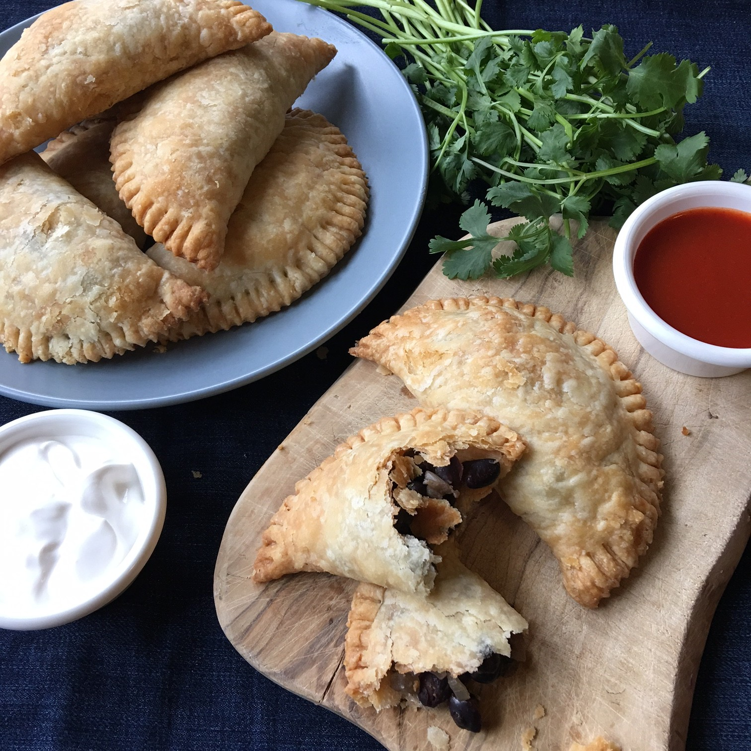 flaky banana and black bean empanadas